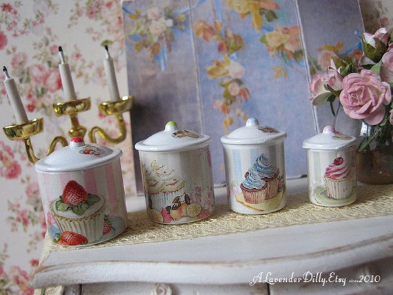 cupcake canisters for kitchen shabby cupcake kitchen canisters for dollhouse 1 12 scale 862