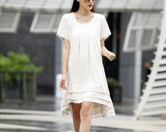 On Sale Size M Casual Summer Dress Loose Fitting Rould Collar Short Sleeve Linen Sundress for Women in Linen Color - NC489-9