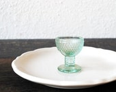 Antique Dollhouse Miniature Glass Goblet, Aqua Pressed Depression Era Doll House Collectible
