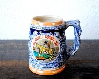 Milwaukee County Zoo Souvenir Bengal Tiger Mug Stein, 1960s Vintage Wisconsin Collectible, Japan