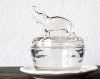 Art Deco Glass Powder Jar Elephant Trinket Box, Antique Vintage Vanity Boudoir Jewelry Holder