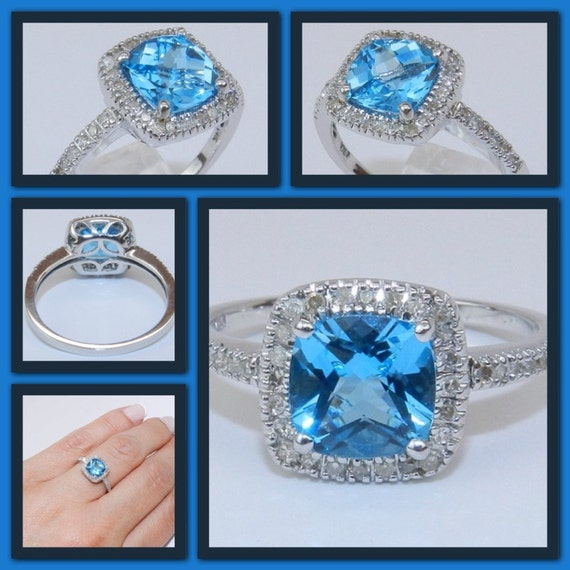 14K White Gold Diamond & Cushion-Cut Blue Topaz Halo Engagement Style Ring