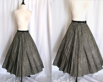 Vintage 1950s Circle Skirt - Silver and Gold Swing Skirt - Size Small