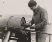 Seaman Working on Cylinder or Barrel US Coast Guard Photo Eastwind Cutter 1950s Military
