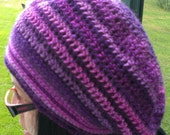 Hand Crocheted - Adult/Teen - Mixed Purple Stripes- Raggae - Rasta - Beret - Slouchy Style Hat
