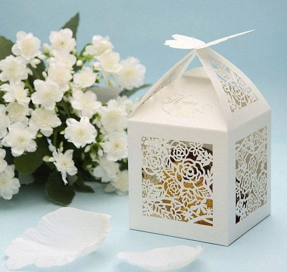 Items Similar To Wedding Favor Box With Elegant Roses