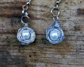 Wrapped Wire Single White Pearl Egg Silver Birdnest Earrings Christmas Valentine's Day Gift
