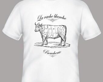 Boucherie La Vache Butcher Cow Collage Vintage Illustration Tee