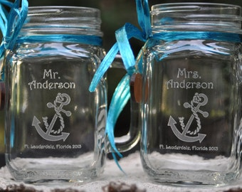 Nautical Wedding Toasting Glasses, Destination Wedding Engraved Mason Jar Set