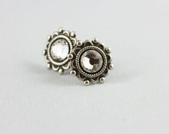 Pretty Earrings, Crystal Oxidized Silver Small Stud Earrings, Post Earrings, Bridesmaid Gift