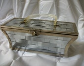 Reserved for Isabelle - Dorset and Rex   metal purse Lucite handle woven