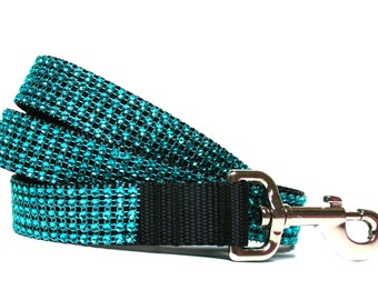 "Turquoise Dog Leash 1"" Rhinestone Dog Leash"
