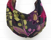 Hippie Bag Purse Floral Cut Chenille Hobo Slouchy