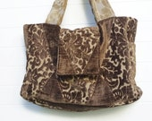 Reserved - Boho Bag Purse Brown Cut Chenille