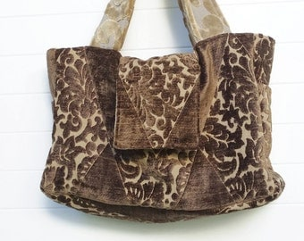 Boho Bag Purse Brown Cut Chenille