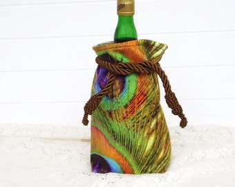 Wine Bag Gift Bag Velvet with Peacock Design