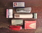 vintage staplers and staples instant collection: red, gray, and beige / New Year get organized