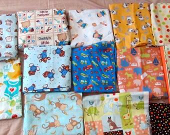 Baby Boy Prints in new Designer Cotton animals, trains, trucks, cars, planes, sailor bear, sailor suit,