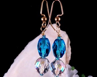 Blue Earrings - Crystal Beaded Earrings - Blue Dangling Earrings - Blue Handmade Fashionable Costume Jewelry - Made in USA - Free Shipping