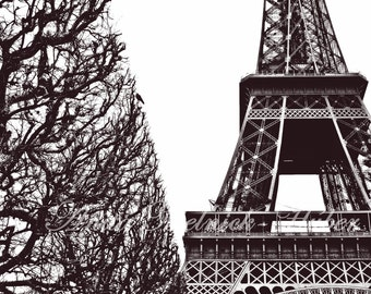 Paris-8 x 10 Fine Art Photograph-Preppy Dorm Decor-Fashion-Paris Decor-Parisian-Eiffel Tower-Black & White-Art Deco-Nursery -French Country