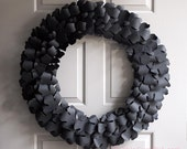 Elegant Halloween Decor Autumn Wreath Black Leaves Leaf Wreath Large 50th Birthday