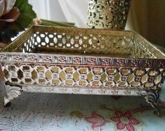 Gold Filigree Dish - Soapdish - Hollywood Regency Glamour