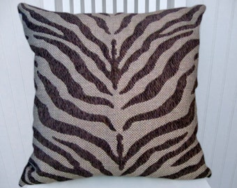 Grey Zebra Pillow Cover Animal Print  Duralee Zebra Throw Pillow Cover- Accent Pillow Cover-Charcoal and Light Grey