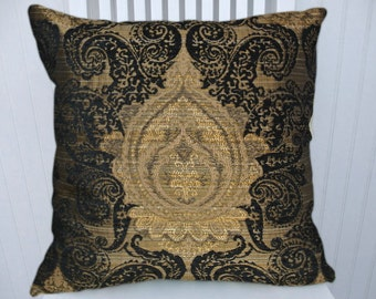 Black Gold Decorative Pillow- 18x18 or 20x20 or 22x22 Accent  Pillow Cover Throw Pillow