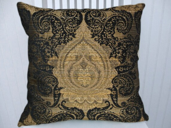 black gold decorative pillow 18x18 or 20x20 or 22x22 accent. Black Bedroom Furniture Sets. Home Design Ideas