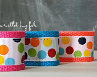 Wrist Lanyard, Wristlet Key Fob, Rainbow Polka Dot Ribbon and Webbing Key Chain, Great Teacher or Stocking Stuffer Gift