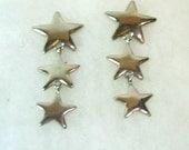 Vintage Silver Star Earrings - 3 Graduated Stars