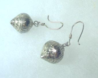 Handcrafted Silver Acorn  Earrings