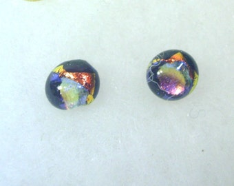 Hand Crafted Dichroic Glass Button Earrings - Fiery Metallic No. 997