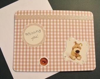 Boofle Bear Miss You Handmade Greeting Card