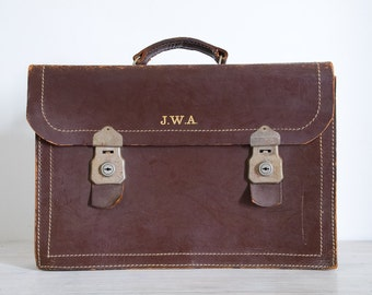 vintage dark brown leather expanding briefcase, initialled JWA