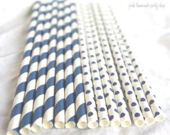 25 Navy Stripe & Dot Paper Straws 25ct- with Free Printable Flags