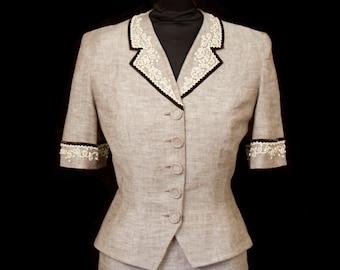 1950s Suit // Grey Beaded Linen Suit