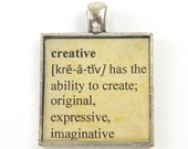 Creative Pendant - Word Dictionary Page Sepia Tan Silver Square Resin Jewelry Charm