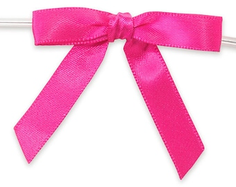12 Small HOT PINK Satin Bows - Ready For Use