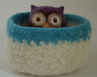 felted wool bowl cream and turquoise square container jewelry holder treasure dish