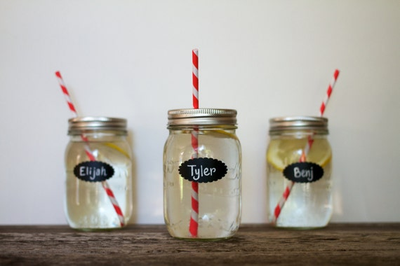 24 Tiny Scalloped Chalkboard Labels 2 X 1 for Mason Jar Wedding idea Kids Birthday Party diy Drink Cup Scallop Bridal Baby Shower decoration