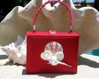 SALE - 20% OFF. Vintage Red Box handbag embellished with Seashells - Small in size, Big in Wow.