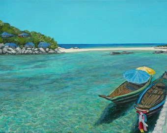 """Long Boats in Koh Tao 11"""" x 14""""/  Original Artwork/ Seascape/ Giclee on Canvas Print"""