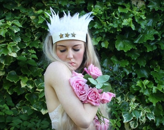 White star feather festival headband, feathered headdress, white faux leather headpiece