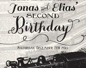 Vintage Train Birthday Invitation