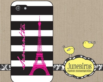 Personalized iPhone 6, iPhone 5/5s and iPhone 4/4s Cell Phone Case - Eiffel Tower with Name