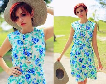 Vintage 1950s Mint Green Silk Roses Garden Dress
