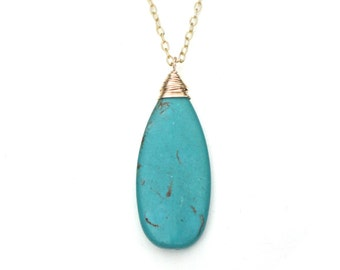 Turquoise Pendant Long Necklace with Gold or Silver Chain