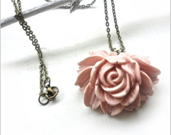 Large Pink Flower Necklace on Bronze Chain - Pastel Jewelry