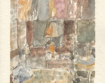 "Watercolor Painting. The Artist's Bedroom. 8.5"" x 12.5"""